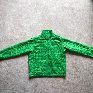 Lime Green Patagonia micro puff jacket